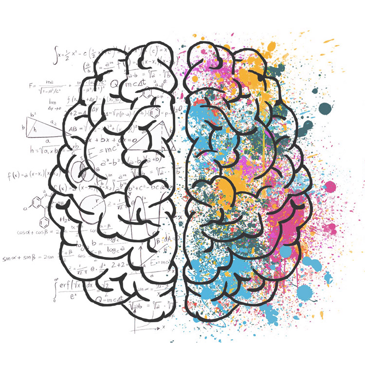 Illustration of brain showing thoughts and emotion